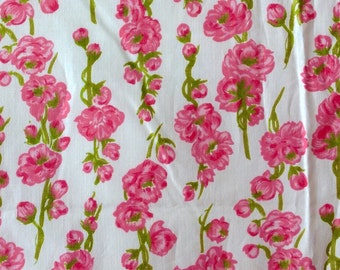 Vintage 1960s 60s Sixties Crisp Soft Floral Cotton fabric, Pink White Green Sprigs Blossoms, yardage, almost 2 metres, unused