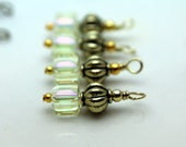 Antiqued Clear AB Faceted Square Cube and Gold Ribbed Barrel Bead Earring Dangle Charm Set, Pendant, Bracelet Charm, Dangle