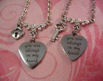 Two You Are Always in My Heart Necklace Set for Sisters Friends Mother Daughter Gift
