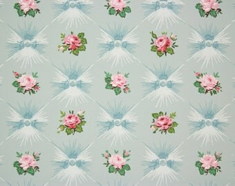 1940s Vintage Wallpaper Pink Roses on Blue Button Tufting by the Yard