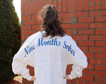 Nine Months Sober Preppy Jersey, Pregnancy Jersey, Gift for Her, Baby Shower Gift, Baby Shower