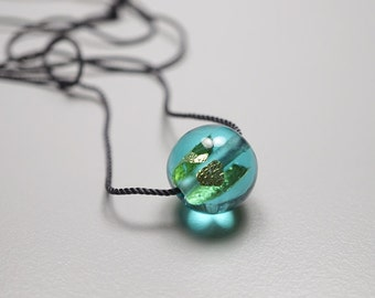 Blown Glass Necklace // Turquoise // Hand Blown Glass Necklace // Bead With 24K Gold