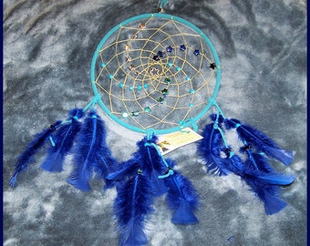 Dream Catcher With Star Charm, Aqua Leather, Blue Feathers