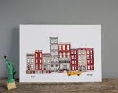 New York Print - Skyline A4 Illustration Print