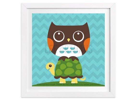 21 Woodland Animal Print - Owl on Turtle Wall Art - Owl Wall Art - Blue Chevron Wall Art - Turtle Print - Art for Children - Owl Print