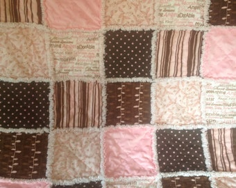 Sweet Baby Girl Rag Quilt...Pink and Brown