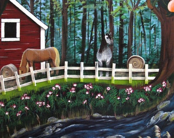 SALE! The Horse Farm, original painting with magnolias, horses and flowers