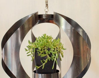 vintage lantern pendant - hanging metal candle or plant holder
