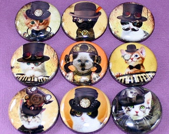 Steampunk Cats Magnets - One Inch