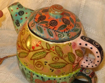 Handpainted Teapot And Cup Combo, Ceramic