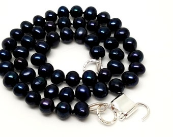 Discreet Slave Collar Black Iridescent Freshwater Potato Pearls 9-10mm  Hand Knotted Silk with Sterling Silver Ends and Sterling Clasp