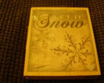 Let it Snow Snowflake wood mounted Rubber Stamp - Inkadinkado