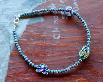 Blue bone and cloisonne enamel beaded bracelet for costuming and more