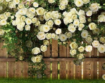 Flower And Fence 5ft x 5ft Backdrop Computer Printed Photography Background CM-0065-1