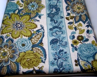"Vintage Waverly Upholstery Fabric-""Old Saybrooke""-3+yds.Aqua+Teal+Sage"