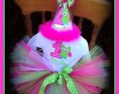 Owl Cake Smash Set, Owl Birthday Hat, Matching Bodysuit and Tutu,  Sz 12, 18  or 24 mo., by GINGHAM BUNNY
