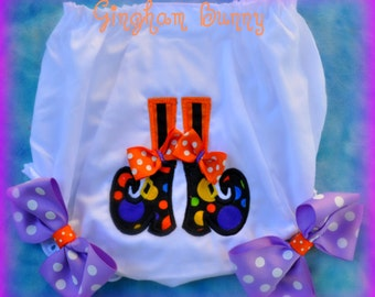 Little Witch  Birthday Ribbon Bloomers OR Bib,  Halloween Birthday Bloomers,  Halloween Birthday Bib, by GINGHAM BUNNY