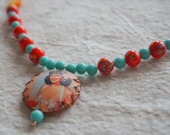 Pinup necklace-- retro pinup necklace with vintage Japanese millefiori & aqua glass breads with adjustable chain