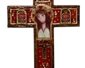Jesus Christ - Crown of Thorns  -  Wall Cross Mixed Media Art by FLOR LARIOS