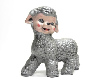 mary had an odd little lamb . creepy cute silver gray ceramic farm animal . great nursery or baby shower gift . 1950s kitsch