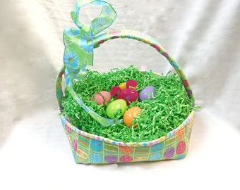 Fabric Easter Basket, Quilted Basket, Storage Basket, Spring, Quiltsy Handmade