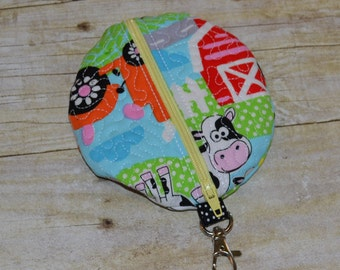 On the Farm Pacifier Pod with Hook - Paci Pod, Case, Holder, Change Purse, Earbud Case