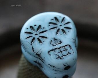 10% off BLACK SKY SKULLS .. New 2 Picasso Czech Sugar Skull Beads 20x17mm (5324-2)