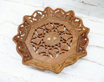 Vintage Mid Century Reticulated Filigree Wood Serving Bowl Tray Octagon Hand Carved