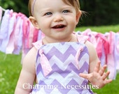 SALE Baby Girl Chevron Sunsuit Romper Bubble with Ruffles - Lavendar and Pink