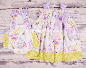 Big Sister Little Sister Outfits, Easter Sibling Outfits ,Ruffled Sundress and Retro Sunsuit in Birds of a Feather by Charming Necessities