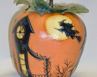 Halloween Town Apple Gourd - Hand Painted