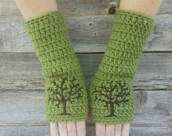 Fingerless Gloves with Tree of Life, Avocado Green, Dark Brown, Arm Warmers with Tree of Life, fingerless gloves, Wool Gloves, MADE TO ORDER
