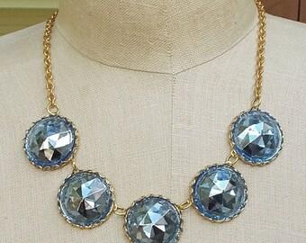 ON SALE Bold Chunky Collet Necklace Vintage Blue Headlight Czech Czechoslovakia Glass Jewelry