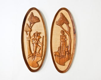 Mid Century Modern Wall Plaques 2  Wood Figures Wall Art