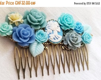 ON SALE Blue and Grey Skeletina Cluster Hair Comb - Fascinator Kitschy Cool Pink Offbeat Wedding Bride Skull