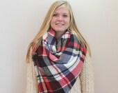 Oversized Blanket Scarf Plaid Tartan Monogrammed Shoulder Wrap Winter Shawl Sale
