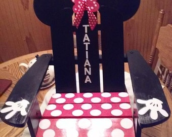 Decoupage Minnie Mouse  or Mickey Mouse Personalized Adirondack Chair