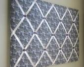 "16""x20"" French Memory Board or Bow Holder, Ribbon Board, Photograph Organizer, Grey Green, Purple, Ivory Paisley"