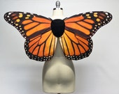 Realistic Monarch Butterfly Fairy Costume Wings, Orange and Black