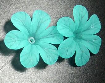 Acrylic Bead 8 Aqua Blue Star Daisy Flower 6-Petal Point Frosted 33mm (1022luc33m3-6)