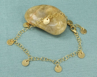 REFLECT GOLD BRACELET delicate gold charm bracelet with tiny discs