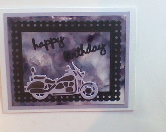 Birthday  card Motorcycle black,grey and purple