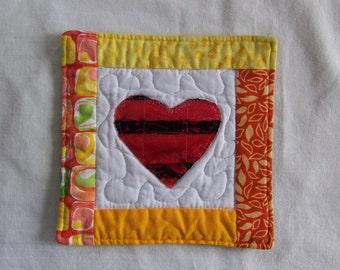 Scrappy  Bright Batik Hearts Mug Rug/Coaster  #13