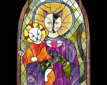 The Blessed Mother and the Heavenly Infant cat saint art print 8 x 10 inches