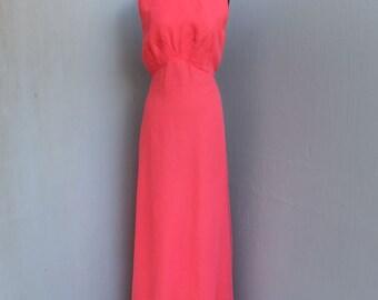 Vintage EMMA DOMB  1970s Gown, BRIGHT Pink Chiffon Emma Domb of California Maxi Dress, Empire Waist, Sleeveless, Ex Large