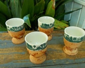 Set Of Four Green Willow Porcelain And Wood Egg Cups / Japanese Serving Style