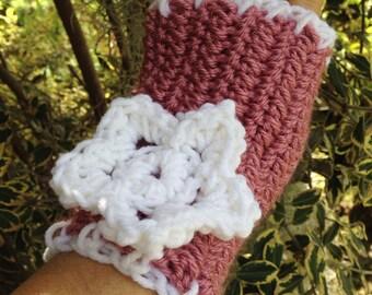 Gloves Handmade Rose Pink Flower Fingerless Mitts