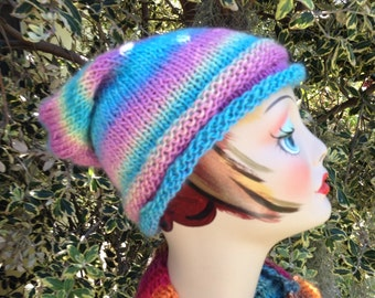 Rainbow Knit Slouchy Hat