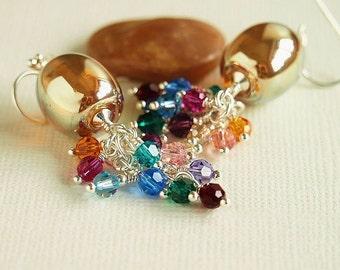 Multi Colour Cluster Earrings, Gold Artisan Lampwork, Swarovski, Sterling Silver  - TREASURE CHEST