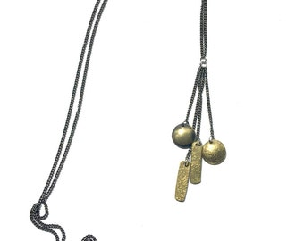 extra long brass geometic tassle necklace - sophisticated - casual-